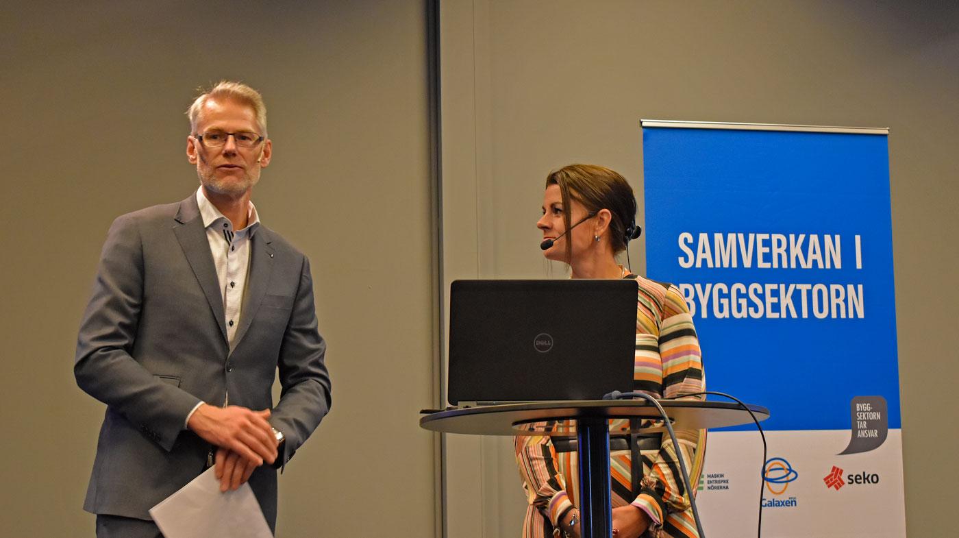 Johan Hallberg, Sveriges Byggindustrier på Samverkansdagarna tillsammans med moderator Anna Bellman